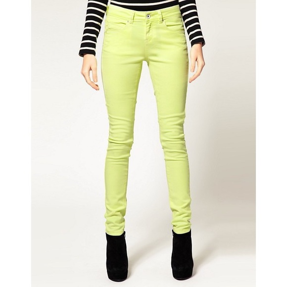 EXPRESS   Neon Yellow Skinny Jeans   6